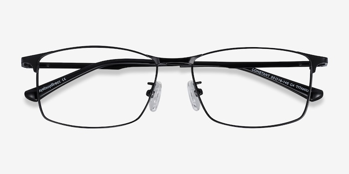 Constant Black Titanium Eyeglass Frames from EyeBuyDirect, Closed View
