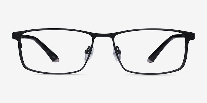 Driven Black Titanium Eyeglass Frames from EyeBuyDirect, Front View