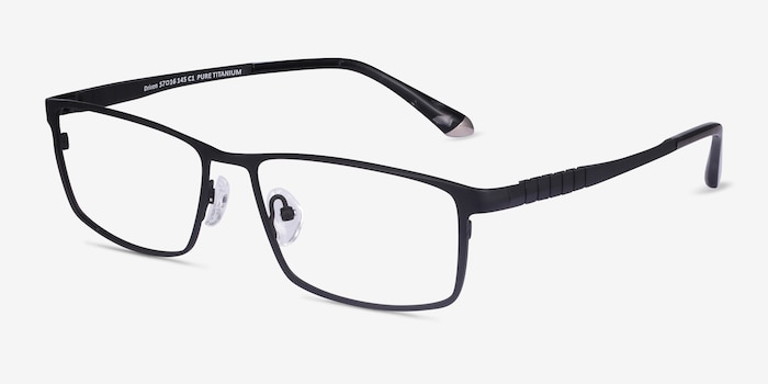 Driven Black Titanium Eyeglass Frames from EyeBuyDirect, Angle View