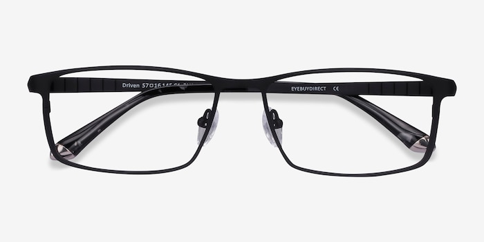 Driven Black Titanium Eyeglass Frames from EyeBuyDirect, Closed View