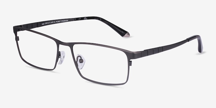 Kept Gray Titanium Eyeglass Frames from EyeBuyDirect, Angle View