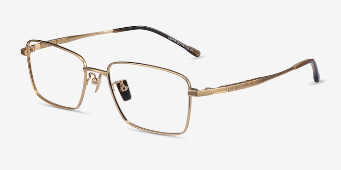 Canto Golden Titanium Eyeglass Frames from EyeBuyDirect, Angle View