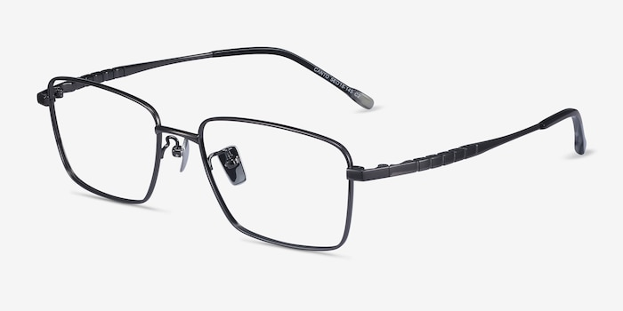 Canto Gunmetal Titanium Eyeglass Frames from EyeBuyDirect, Angle View