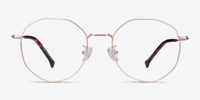 The Path Rose Gold Titanium Eyeglass Frames from EyeBuyDirect, Front View
