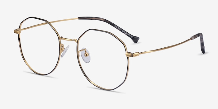 The Path Black Golden Titanium Eyeglass Frames from EyeBuyDirect, Angle View