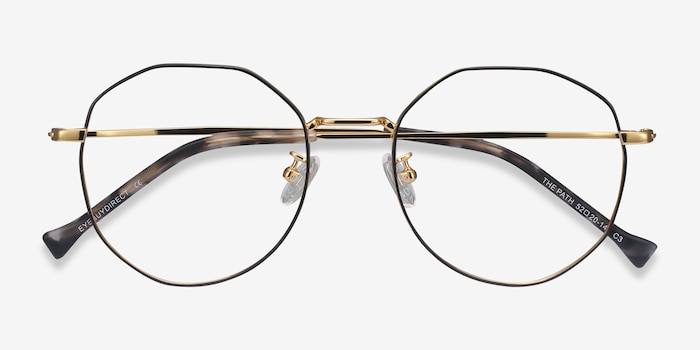 The Path Black Golden Titanium Eyeglass Frames from EyeBuyDirect, Closed View