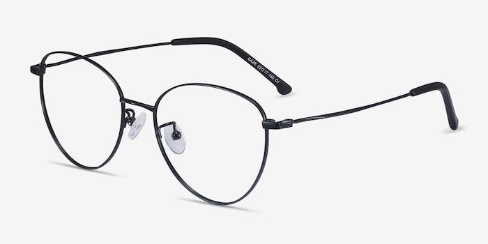 Gaze Noir Titane Montures de Lunettes d'EyeBuyDirect, Vue d'Angle
