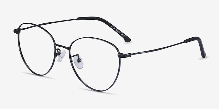 Gaze Black Titanium Eyeglass Frames from EyeBuyDirect, Angle View