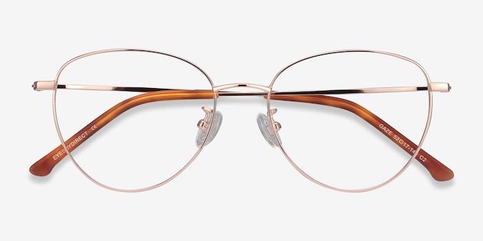 Gaze Rose Gold Titanium Eyeglass Frames from EyeBuyDirect, Closed View