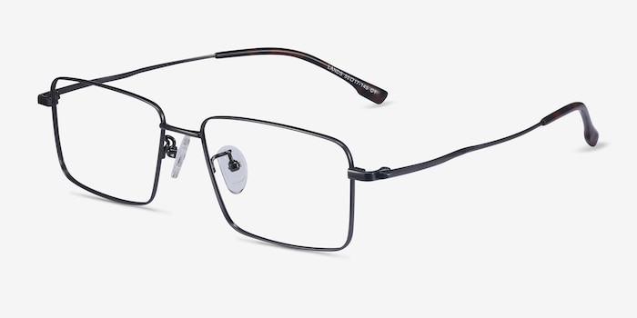 Lands Gunmetal Titanium Eyeglass Frames from EyeBuyDirect, Angle View