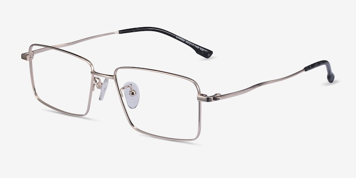 Lands Golden Titanium Eyeglass Frames from EyeBuyDirect, Angle View