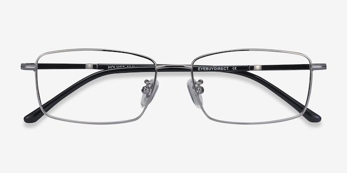 Holmst Gunmetal Titanium Eyeglass Frames from EyeBuyDirect, Closed View