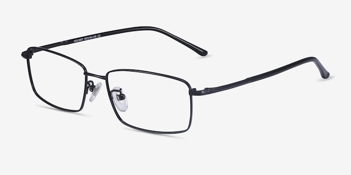 Holmst Black Titanium Eyeglass Frames from EyeBuyDirect, Angle View