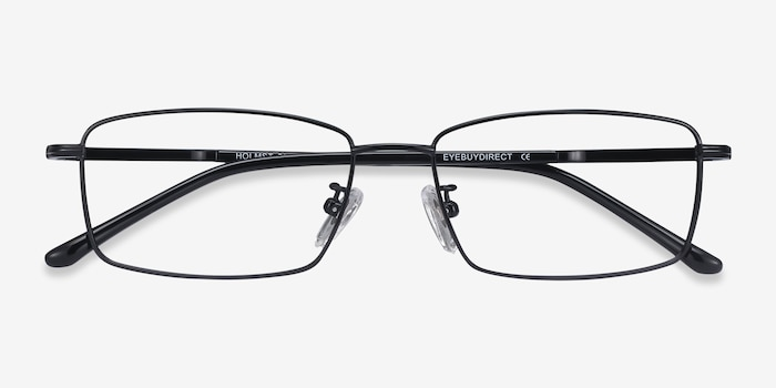 Holmst Black Titanium Eyeglass Frames from EyeBuyDirect, Closed View