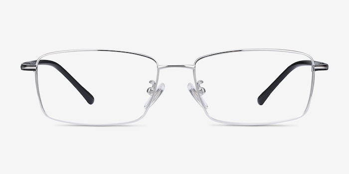 Holmst Silver Titanium Eyeglass Frames from EyeBuyDirect, Front View