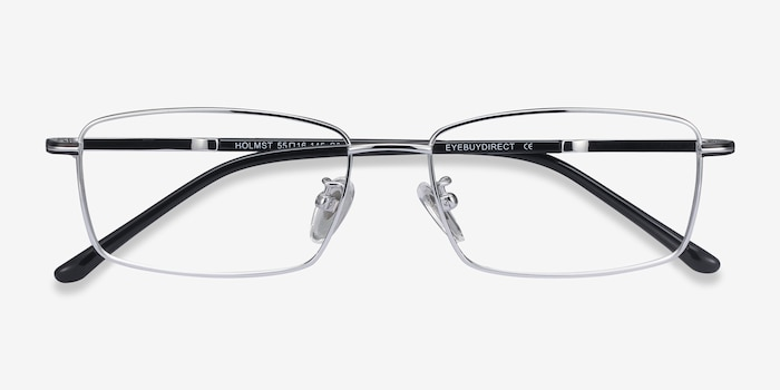 Holmst Silver Titanium Eyeglass Frames from EyeBuyDirect, Closed View