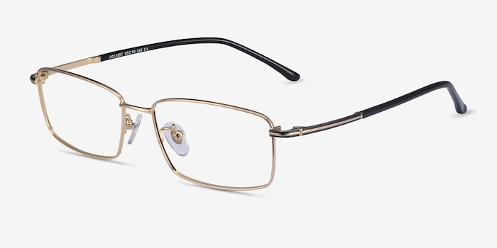 Holmst Golden Titanium Eyeglass Frames from EyeBuyDirect, Angle View