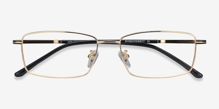 Holmst Golden Titanium Eyeglass Frames from EyeBuyDirect, Closed View