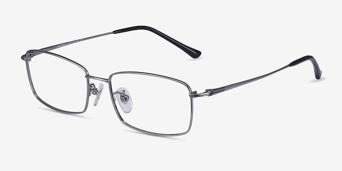 Hobbes Gunmetal Titanium Eyeglass Frames from EyeBuyDirect, Angle View