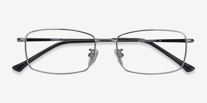Hobbes Gunmetal Titanium Eyeglass Frames from EyeBuyDirect, Closed View