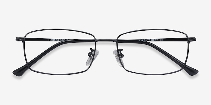 Hobbes Black Titanium Eyeglass Frames from EyeBuyDirect, Closed View