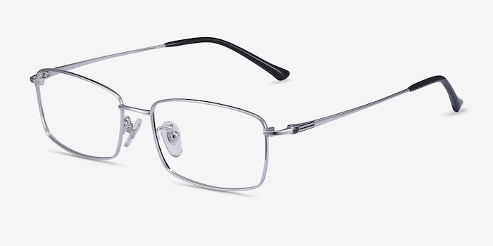 Hobbes Silver Titanium Eyeglass Frames from EyeBuyDirect, Angle View