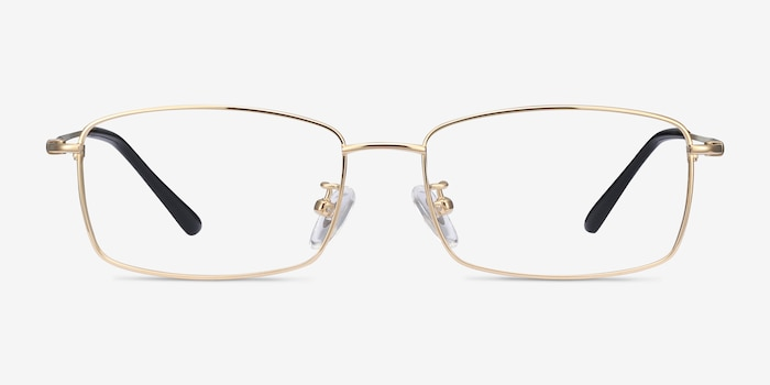 Hobbes Golden Titanium Eyeglass Frames from EyeBuyDirect, Front View