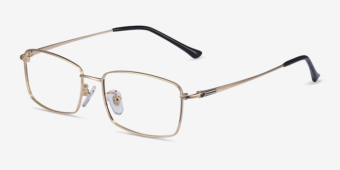 Hobbes Golden Titanium Eyeglass Frames from EyeBuyDirect, Angle View