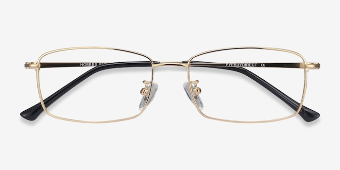 Hobbes Golden Titanium Eyeglass Frames from EyeBuyDirect, Closed View