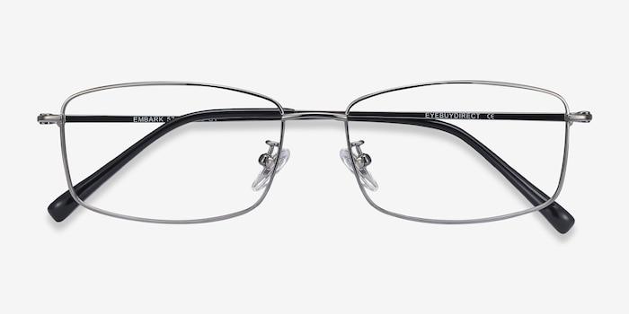 Embark Gunmetal Titanium Eyeglass Frames from EyeBuyDirect, Closed View