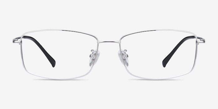 Embark Silver Titanium Eyeglass Frames from EyeBuyDirect, Front View