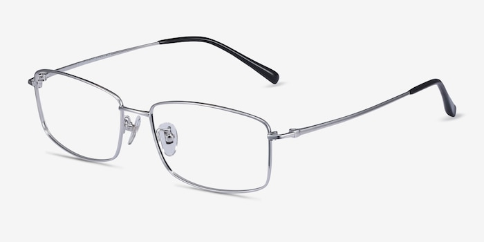 Embark Silver Titanium Eyeglass Frames from EyeBuyDirect, Angle View