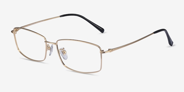Embark Golden Titanium Eyeglass Frames from EyeBuyDirect, Angle View