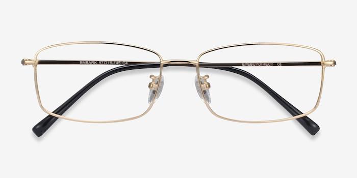 Embark Golden Titanium Eyeglass Frames from EyeBuyDirect, Closed View