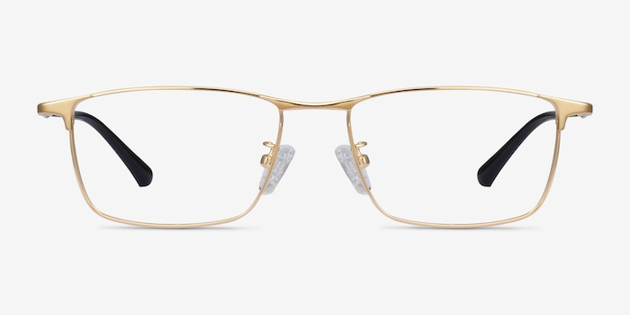 Fielder Gold Titanium Eyeglass Frames from EyeBuyDirect, Front View