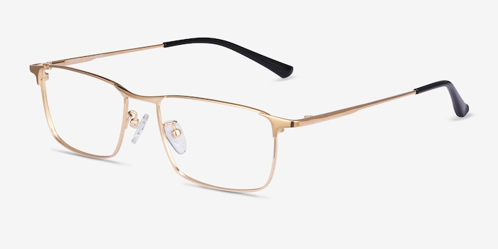 Fielder Gold Titanium Eyeglass Frames from EyeBuyDirect, Angle View