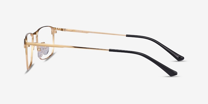 Fielder Gold Titanium Eyeglass Frames from EyeBuyDirect, Side View