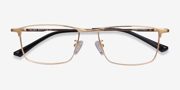 Fielder Gold Titanium Eyeglass Frames from EyeBuyDirect, Closed View