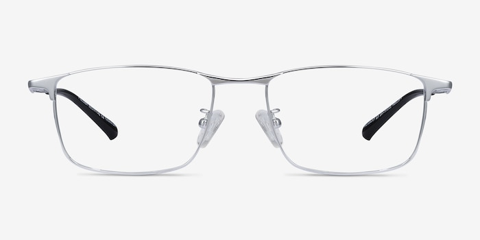 Fielder Silver Titanium Eyeglass Frames from EyeBuyDirect, Front View