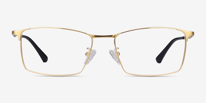 Decider Gold Titanium Eyeglass Frames from EyeBuyDirect, Front View