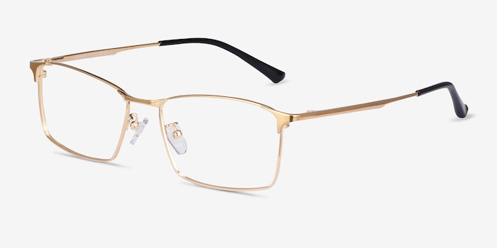 Decider Gold Titanium Eyeglass Frames from EyeBuyDirect, Angle View