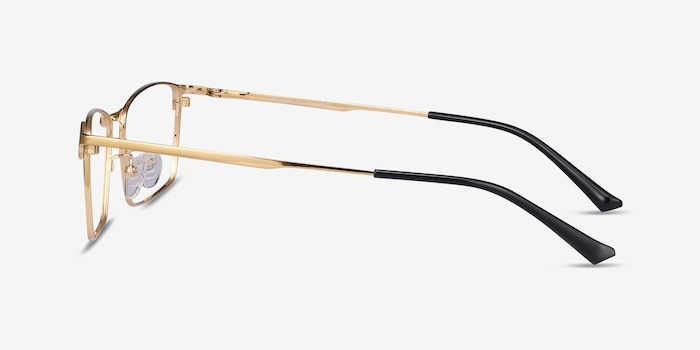 Decider Gold Titanium Eyeglass Frames from EyeBuyDirect, Side View