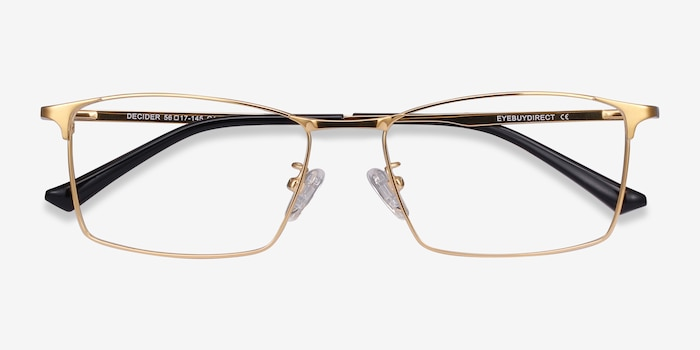 Decider Gold Titanium Eyeglass Frames from EyeBuyDirect, Closed View
