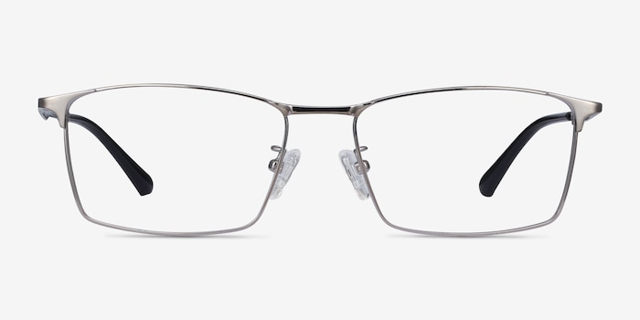 Decider Gunmetal Titanium Eyeglass Frames from EyeBuyDirect, Front View