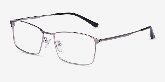 Decider Gunmetal Titanium Eyeglass Frames from EyeBuyDirect, Angle View