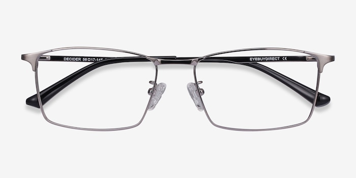 Decider Gunmetal Titanium Eyeglass Frames from EyeBuyDirect, Closed View