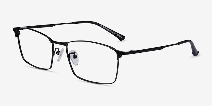 Decider Black Titanium Eyeglass Frames from EyeBuyDirect, Angle View