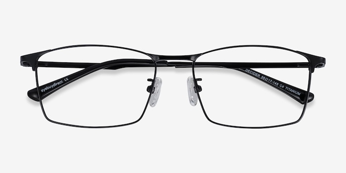 Decider Black Titanium Eyeglass Frames from EyeBuyDirect, Closed View