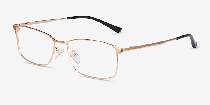 Constant Gold Titanium Eyeglass Frames from EyeBuyDirect, Angle View