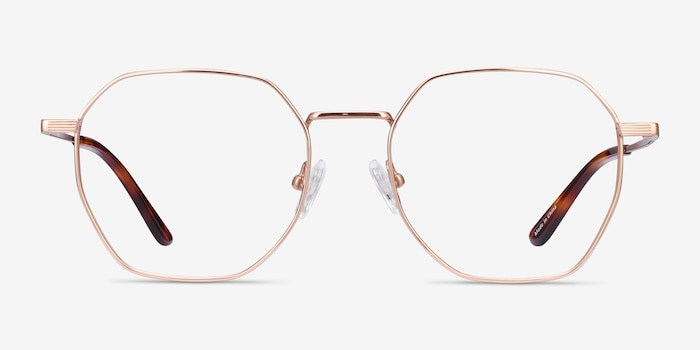 Comet Rose Gold Titanium Eyeglass Frames from EyeBuyDirect, Front View